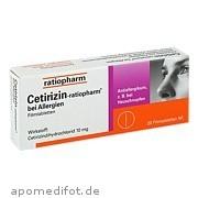 Cetirizin ratiopharm bei Allergien 10 mg Filmtabl.  ab 1,17 Euro