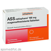 Ass - ratiopharm 100 mg magensaftresistente Tablette ratiopharm GmbH